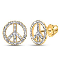 0.15 CTW Diamond Peace Sign Circle Screwback Stud Earrings 10KT Yellow Gold - REF-22H4M