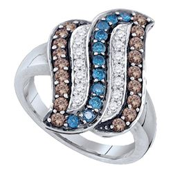 0.91 CTW Cognac-brown Blue Color Diamond Cluster Ring 10KT White Gold - REF-49N5F
