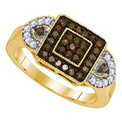 0.50 CTW Cognac-brown Color Diamond Square Ring 10KT Yellow Gold - REF-34F4N