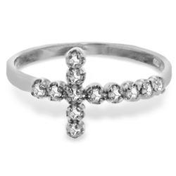 Genuine 0.18 ctw Diamond Anniversary Ring Jewelry 14KT White Gold - REF-39Z4N