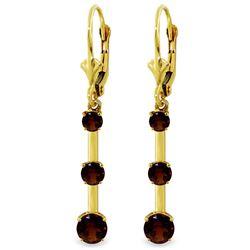 Genuine 2.5 ctw Garnet Earrings Jewelry 14KT Yellow Gold - REF-39H3X