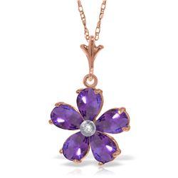 Genuine 2.22 ctw Amethyst & Diamond Necklace Jewelry 14KT Rose Gold - REF-30W2Y