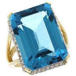 Natural 15.06 ctw London-blue-topaz & Diamond Engagement Ring 14K Yellow Gold - REF-87V2F