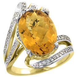 Natural 5.76 ctw quartz & Diamond Engagement Ring 14K Yellow Gold - REF-90V5F