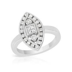 0.50 CTW Diamond Ring 18K White Gold - REF-76W2H