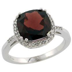 Natural 4.11 ctw Garnet & Diamond Engagement Ring 14K White Gold - REF-48W2K