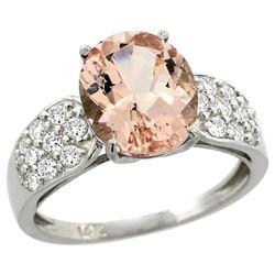 Natural 3.25 ctw morganite & Diamond Engagement Ring 14K White Gold - REF-82W6K