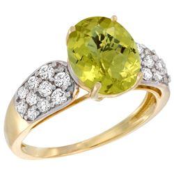 Natural 2.75 ctw lemon-quartz & Diamond Engagement Ring 14K Yellow Gold - REF-57H7W