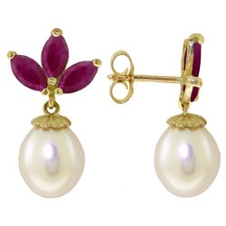 Genuine 9.5 ctw Ruby & Pearl Earrings Jewelry 14KT White Gold - REF-35P2H