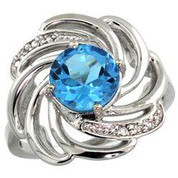 Natural 2.25 ctw swiss-blue-topaz & Diamond Engagement Ring 14K White Gold - REF-57W8K