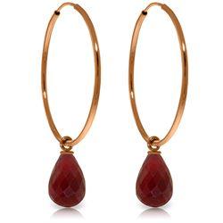 Genuine 6.6 ctw Ruby Earrings Jewelry 14KT Rose Gold - REF-26W7Y