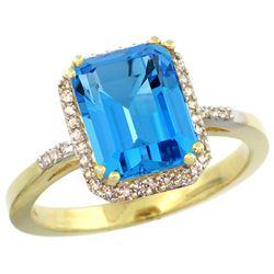Natural 2.63 ctw Swiss-blue-topaz & Diamond Engagement Ring 14K Yellow Gold - REF-42H8W