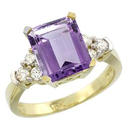Natural 2.86 ctw amethyst & Diamond Engagement Ring 10K Yellow Gold - REF-53H5W