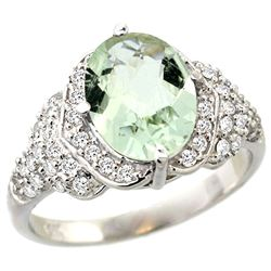 Natural 2.92 ctw green-amethyst & Diamond Engagement Ring 14K White Gold - REF-102H7W