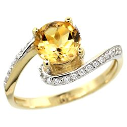 Natural 0.99 ctw citrine & Diamond Engagement Ring 14K Yellow Gold - REF-52Z2Y