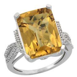 Natural 12.14 ctw Whisky-quartz & Diamond Engagement Ring 14K White Gold - REF-62R2Z