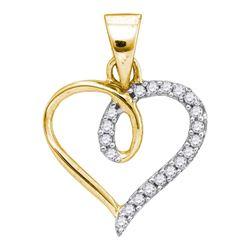 0.10 CTW Diamond Heart Love Pendant 10KT Yellow Gold - REF-6N6F