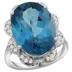 Natural 13.83 ctw london-blue-topaz & Diamond Engagement Ring 14K White Gold - REF-129Y6X