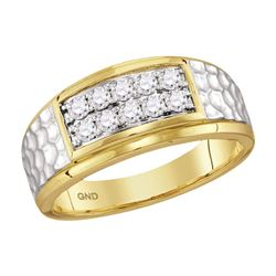 0.55 CTW Mens Diamond Cluster Hammered Wedding Ring 10KT Two-tone Gold - REF-52M4H