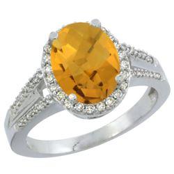 Natural 2.72 ctw whisky-quartz & Diamond Engagement Ring 14K White Gold - REF-53N2G