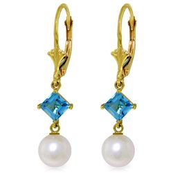 Genuine 5 ctw Blue Topaz Earrings Jewelry 14KT Yellow Gold - REF-29V7W
