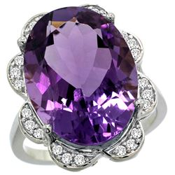 Natural 13.83 ctw amethyst & Diamond Engagement Ring 14K White Gold - REF-124G4M