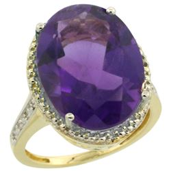 Natural 13.6 ctw Amethyst & Diamond Engagement Ring 10K Yellow Gold - REF-59Z2Y
