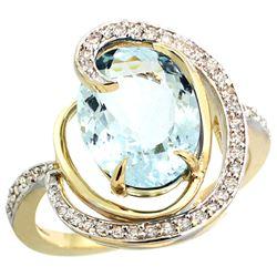 Natural 6.53 ctw aquamarine & Diamond Engagement Ring 14K Yellow Gold - REF-103X8A