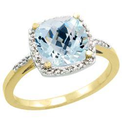 Natural 3.92 ctw Aquamarine & Diamond Engagement Ring 14K Yellow Gold - REF-58G2M