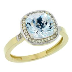 Natural 3.94 ctw Aquamarine & Diamond Engagement Ring 14K Yellow Gold - REF-61V3F
