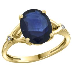 Natural 2.41 ctw Blue-sapphire & Diamond Engagement Ring 14K Yellow Gold - REF-94H6W