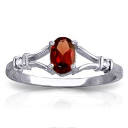 Genuine 0.46 ctw Garnet & Diamond Ring Jewelry 14KT White Gold - REF-27N2R