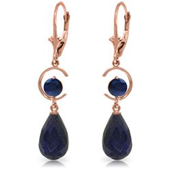 Genuine 18.6 ctw Sapphire Earrings Jewelry 14KT Rose Gold - REF-49F2Z