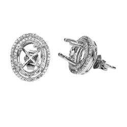 0.44 CTW Diamond Earrings 14K White Gold - REF-44X3R