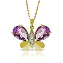 Genuine 6.6 ctw Amethyst & Diamond Necklace Jewelry 14KT Yellow Gold - REF-126N3R