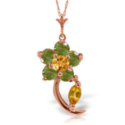 Genuine 0.87 ctw Citrine & Peridot Necklace Jewelry 14KT Rose Gold - REF-25W4Y