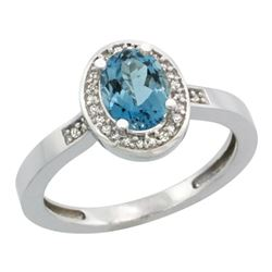 Natural 1.08 ctw London-blue-topaz & Diamond Engagement Ring 14K White Gold - REF-31A6V