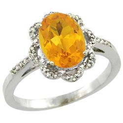 Natural 1.85 ctw Citrine & Diamond Engagement Ring 14K White Gold - REF-38F6N