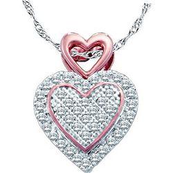 0.15 CTW Diamond Heart Cluster Pendant 10KT Two-tone Gold - REF-13W4K