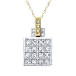 0.32 CTW Diamond Pendant 14K 2Tone Gold - REF-40H7M