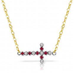 Genuine 0.24 ctw Ruby & Diamond Necklace Jewelry 14KT Yellow Gold - REF-42K2V
