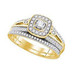 0.50 CTW Diamond Bridal Wedding Engagement Ring 10KT Yellow Gold - REF-67F4N