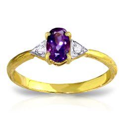 Genuine 0.46 ctw Amethyst & Diamond Ring Jewelry 14KT Yellow Gold - REF-22N5R