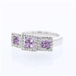 1.03 CTW Pink Sapphire & Diamond Ring 14K White Gold - REF-52M2F
