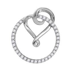 0.34 CTW Diamond Circle Heart Love Pendant 10KT White Gold - REF-22Y4X