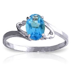 Genuine 0.95 ctw Blue Topaz Ring Jewelry 14KT White Gold - REF-20K5V