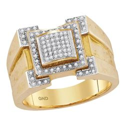 0.25 CTW Mens Diamond Square Cluster Ring 10KT Yellow Gold - REF-55M5H