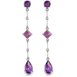 Genuine 6.06 ctw Amethyst & Diamond Earrings Jewelry 14KT White Gold - REF-33X8M