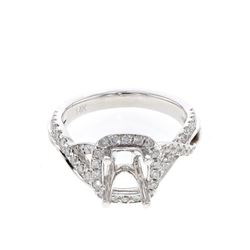 0.48 CTW Diamond Semi Mount Ring 14K White Gold - REF-58F2N
