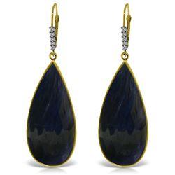Genuine 42.15 ctw Sapphire & Diamond Earrings Jewelry 14KT Yellow Gold - REF-133W6Y